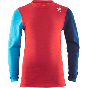 Aclima LightWool Top Cuello Barco Niños, high risk red/ blithe/insignia blue